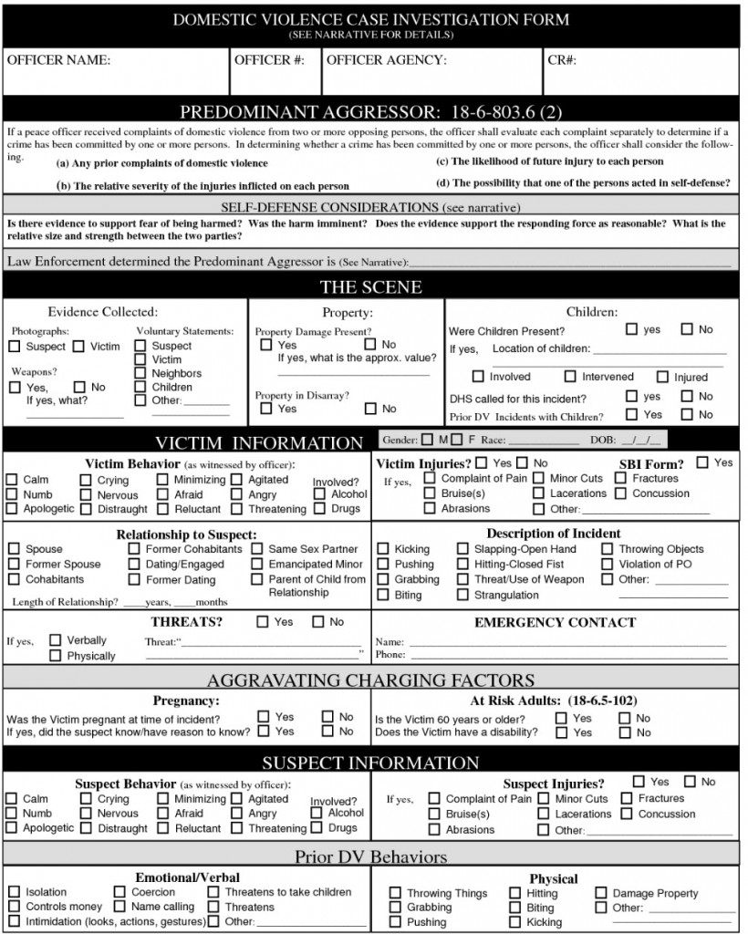 COLORADO DOMESTIC VIOLENCE PREDOMINANT AGGRESSOR EVALUATION FORM